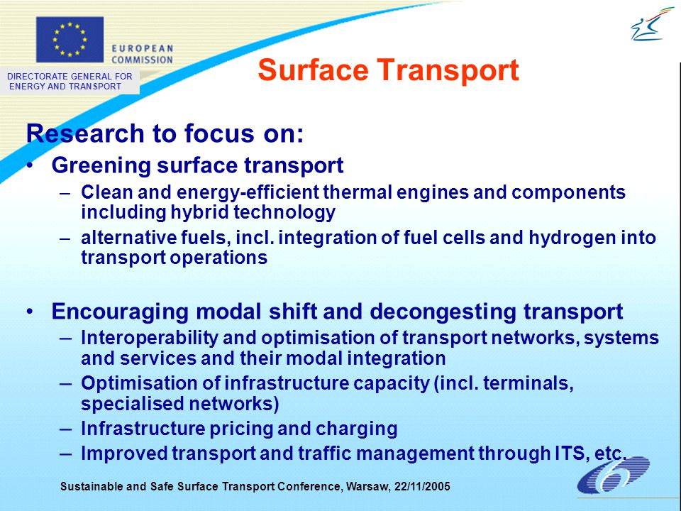 DIRECTORATE GENERAL FOR ENERGY AND TRANSPORT Sustainable and Safe Surface Transport Conference, Warsaw, 22/11/2005 Surface Transport Research to focus on: Greening surface transport –Clean and energy-efficient thermal engines and components including hybrid technology –alternative fuels, incl.