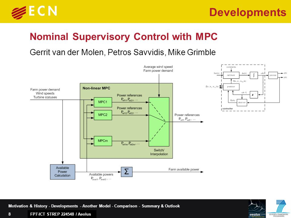 8 Motivation & History - Developments - Another Model - Comparison - Summary & Outlook Nominal Supervisory Control with MPC FP7-ICT STREP 224548 / Aeolus Gerrit van der Molen, Petros Savvidis, Mike Grimble Developments