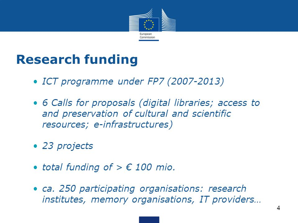 Research funding ICT programme under FP7 ( ) 6 Calls for proposals (digital libraries; access to and preservation of cultural and scientific resources; e-infrastructures) 23 projects total funding of > € 100 mio.