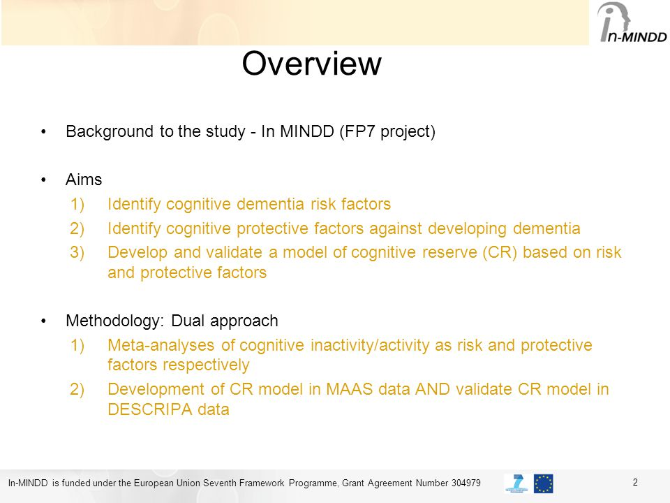 In-MINDD is funded under the European Union Seventh Framework Programme, Grant Agreement Number 304979 Overview Background to the study - In MINDD (FP7 project) Aims 1)Identify cognitive dementia risk factors 2)Identify cognitive protective factors against developing dementia 3)Develop and validate a model of cognitive reserve (CR) based on risk and protective factors Methodology: Dual approach 1)Meta-analyses of cognitive inactivity/activity as risk and protective factors respectively 2)Development of CR model in MAAS data AND validate CR model in DESCRIPA data 2