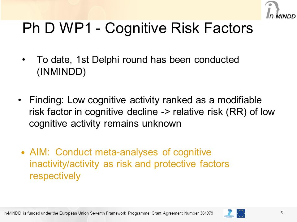 In-MINDD is funded under the European Union Seventh Framework Programme, Grant Agreement Number 304979 Ph D WP1 - Cognitive Risk Factors To date, 1st Delphi round has been conducted (INMINDD) Finding: Low cognitive activity ranked as a modifiable risk factor in cognitive decline -> relative risk (RR) of low cognitive activity remains unknown AIM: Conduct meta-analyses of cognitive inactivity/activity as risk and protective factors respectively 6
