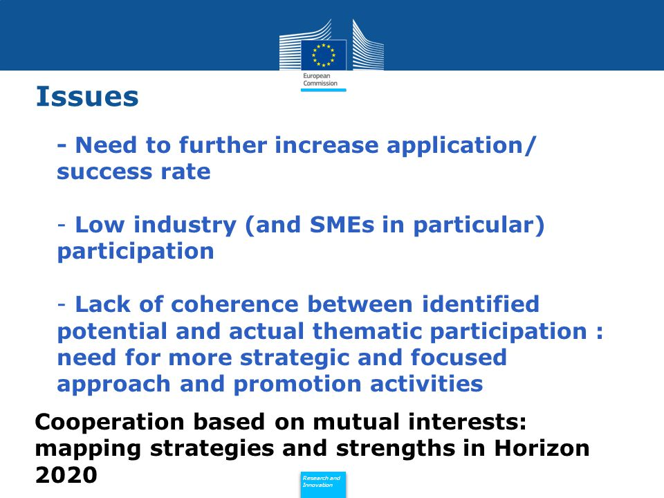 Policy Research and Innovation Research and Innovation Issues - Need to further increase application/ success rate - Low industry (and SMEs in particular) participation - Lack of coherence between identified potential and actual thematic participation : need for more strategic and focused approach and promotion activities Cooperation based on mutual interests: mapping strategies and strengths in Horizon 2020