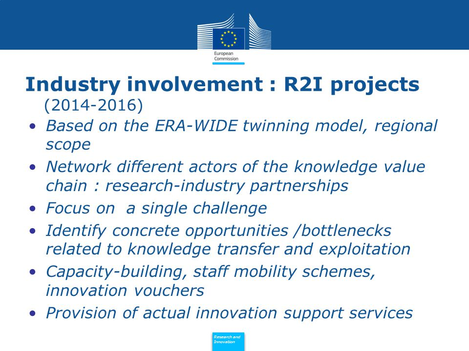 Policy Research and Innovation Research and Innovation Industry involvement : R2I projects ( ) Based on the ERA-WIDE twinning model, regional scope Network different actors of the knowledge value chain : research-industry partnerships Focus on a single challenge Identify concrete opportunities /bottlenecks related to knowledge transfer and exploitation Capacity-building, staff mobility schemes, innovation vouchers Provision of actual innovation support services
