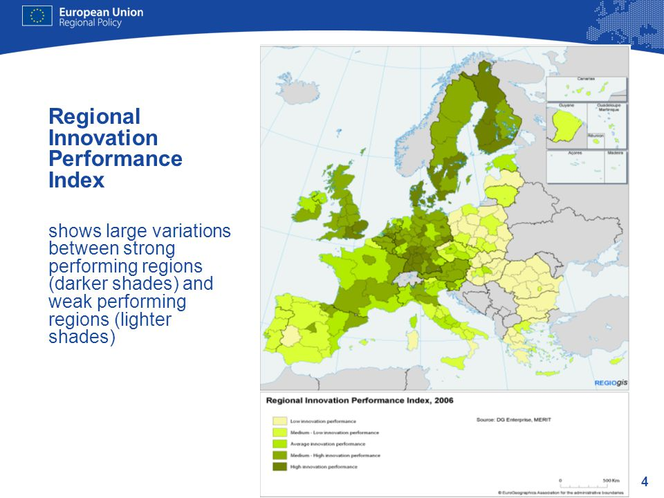 4 Regional Innovation Performance Index shows large variations between strong performing regions (darker shades) and weak performing regions (lighter shades)