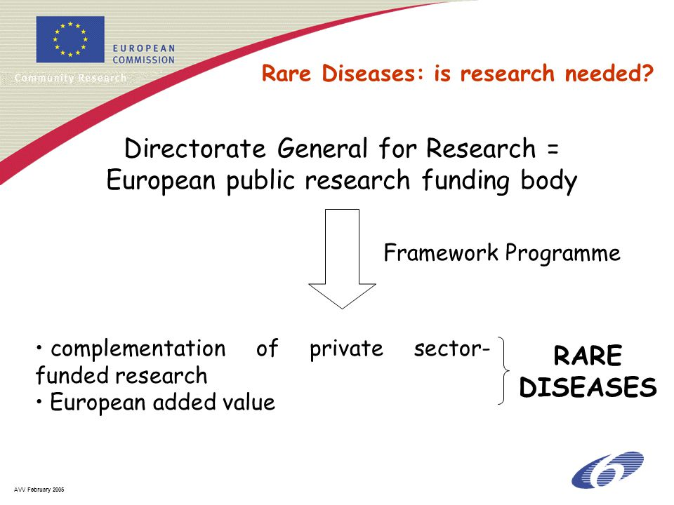 AVV February 2005 Directorate General for Research = European public research funding body complementation of private sector- funded research European added value Framework Programme RARE DISEASES Rare Diseases: is research needed