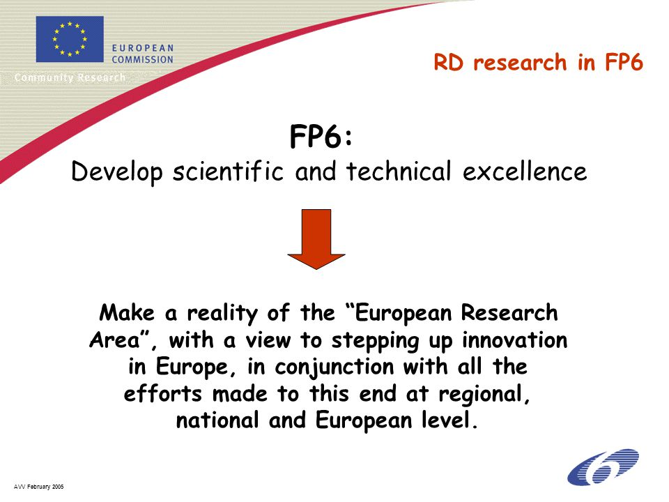 AVV February 2005 Make a reality of the European Research Area , with a view to stepping up innovation in Europe, in conjunction with all the efforts made to this end at regional, national and European level.