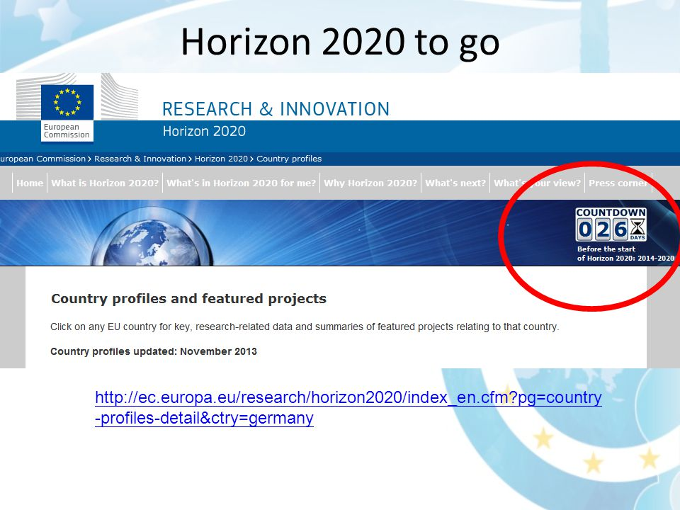Horizon 2020 to go   pg=country -profiles-detail&ctry=germany