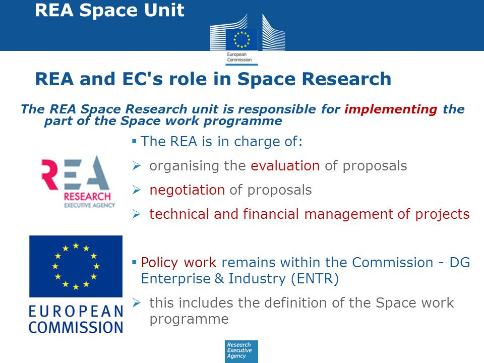 REA and EC s role in Space Research The REA Space Research unit is responsible for implementing the part of the Space work programme REA Space Unit  The REA is in charge of:  organising the evaluation of proposals  negotiation of proposals  technical and financial management of projects  Policy work remains within the Commission - DG Enterprise & Industry (ENTR)  this includes the definition of the Space work programme