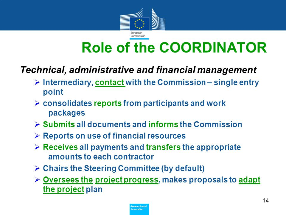Policy Research and Innovation Research and Innovation Role of the COORDINATOR Technical, administrative and financial management  Intermediary, contact with the Commission – single entry point  consolidates reports from participants and work packages  Submits all documents and informs the Commission  Reports on use of financial resources  Receives all payments and transfers the appropriate amounts to each contractor  Chairs the Steering Committee (by default)  Oversees the project progress, makes proposals to adapt the project plan 14