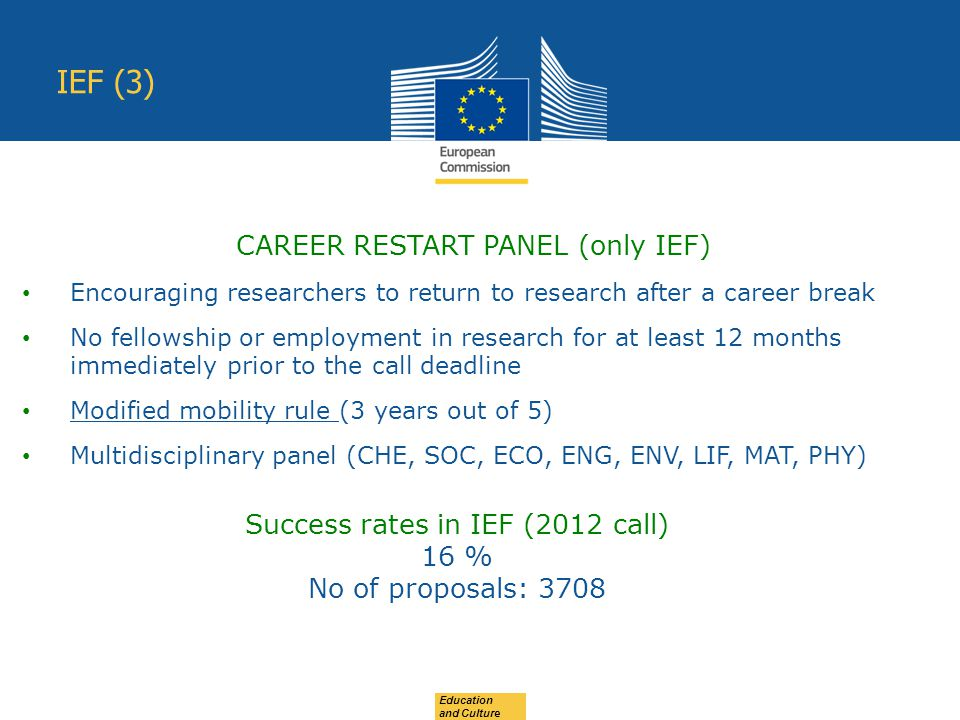 Education and Culture IEF (3) CAREER RESTART PANEL (only IEF) Encouraging researchers to return to research after a career break No fellowship or employment in research for at least 12 months immediately prior to the call deadline Modified mobility rule (3 years out of 5) Multidisciplinary panel (CHE, SOC, ECO, ENG, ENV, LIF, MAT, PHY) Success rates in IEF (2012 call) 16 % No of proposals: 3708