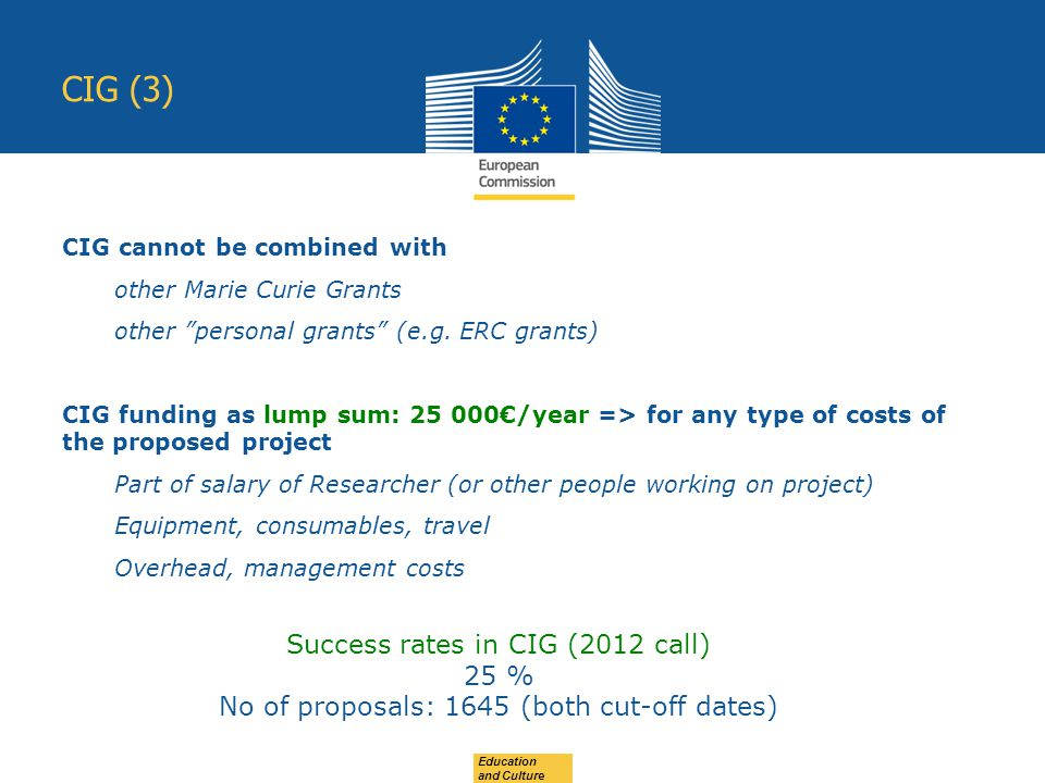Education and Culture CIG (3) CIG cannot be combined with other Marie Curie Grants other personal grants (e.g.
