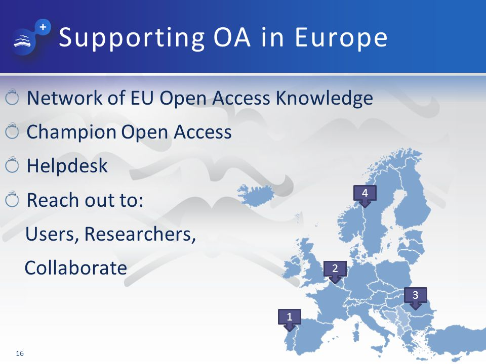 Supporting OA in Europe Network of EU Open Access Knowledge Champion Open Access Helpdesk Reach out to: Users, Researchers, Collaborate 16 1 2 3 22222 4