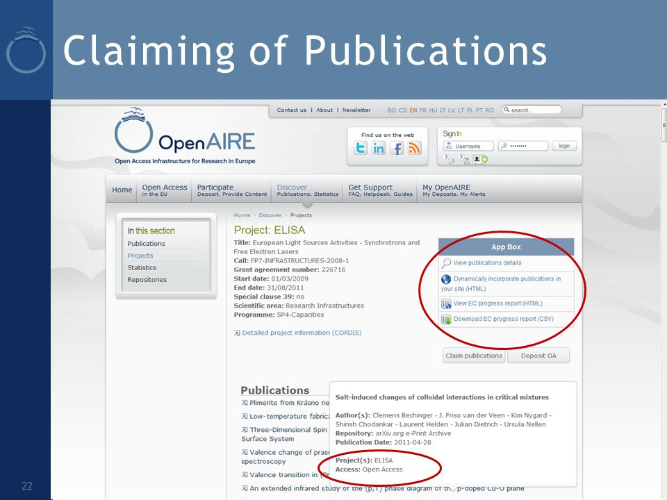 Claiming of Publications 22