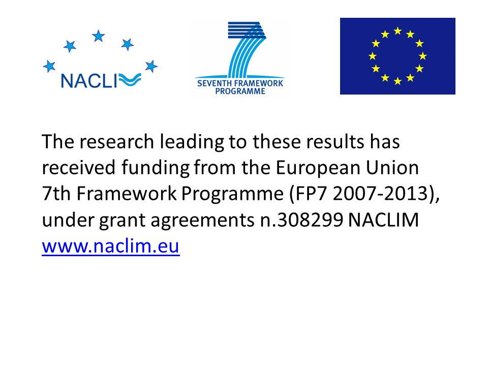 The research leading to these results has received funding from the European Union 7th Framework Programme (FP7 2007-2013), under grant agreements n.308299 NACLIM www.naclim.eu www.naclim.eu