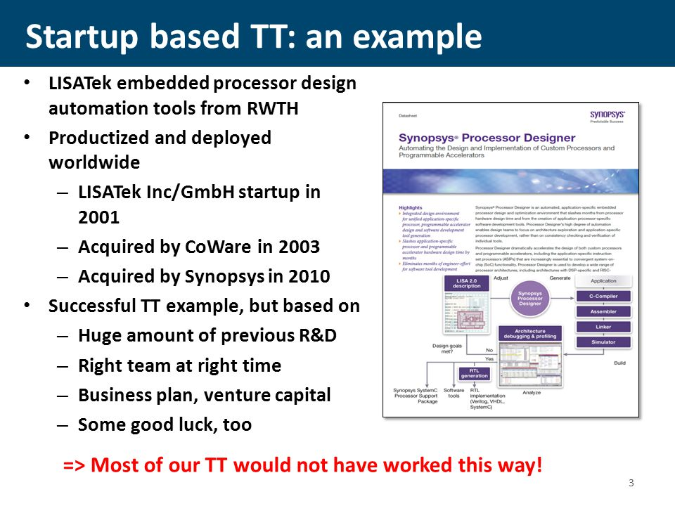 Startup based TT: an example LISATek embedded processor design automation tools from RWTH Productized and deployed worldwide – LISATek Inc/GmbH startup in 2001 – Acquired by CoWare in 2003 – Acquired by Synopsys in 2010 Successful TT example, but based on – Huge amount of previous R&D – Right team at right time – Business plan, venture capital – Some good luck, too => Most of our TT would not have worked this way.