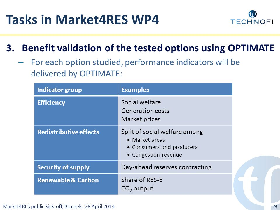 Market4RES public kick-off, Brussels, 28 April 2014 Tasks in Market4RES WP4 3.Benefit validation of the tested options using OPTIMATE – For each option studied, performance indicators will be delivered by OPTIMATE: 9 Indicator groupExamples EfficiencySocial welfare Generation costs Market prices Redistributive effectsSplit of social welfare among  Market areas  Consumers and producers  Congestion revenue Security of supplyDay-ahead reserves contracting Renewable & CarbonShare of RES-E CO 2 output