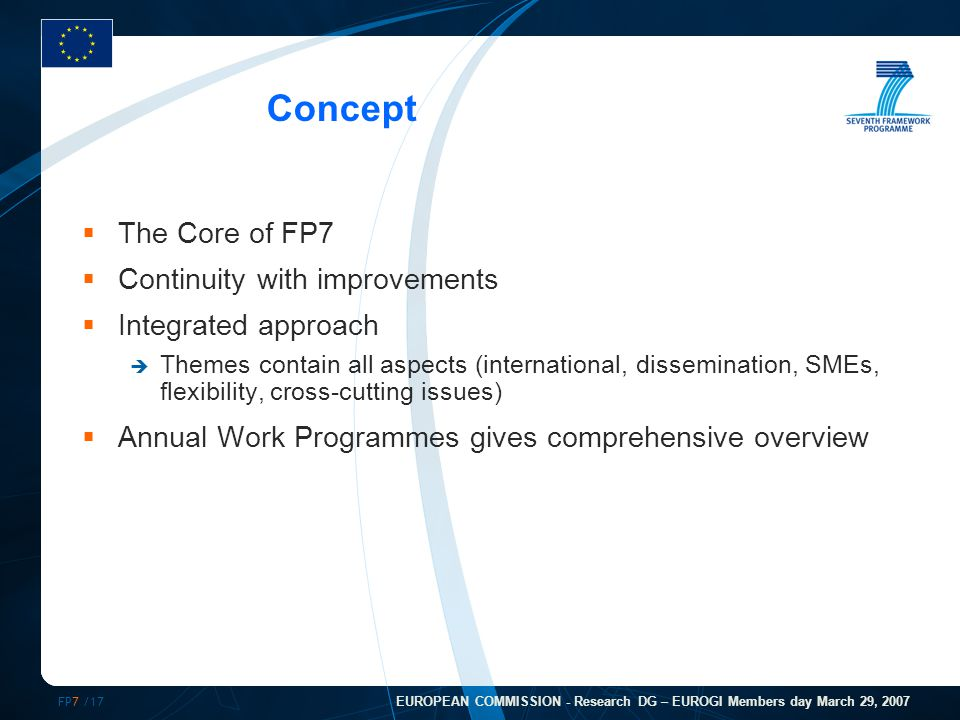 FP7 /17 EUROPEAN COMMISSION - Research DG – EUROGI Members day March 29, 2007 Concept  The Core of FP7  Continuity with improvements  Integrated approach  Themes contain all aspects (international, dissemination, SMEs, flexibility, cross-cutting issues)  Annual Work Programmes gives comprehensive overview