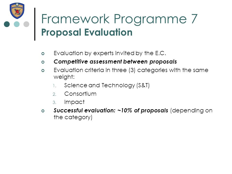 Framework Programme 7 Proposal Evaluation Evaluation by experts invited by the E.C.