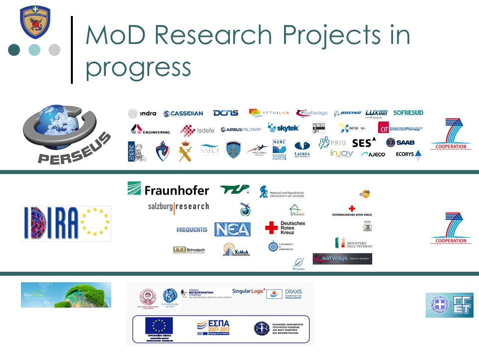 MoD Research Projects in progress