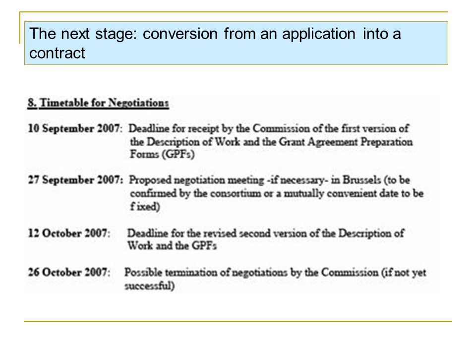 The next stage: conversion from an application into a contract