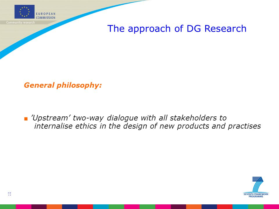 11 The approach of DG Research General philosophy: ■ 'Upstream' two-way dialogue with all stakeholders to internalise ethics in the design of new products and practises