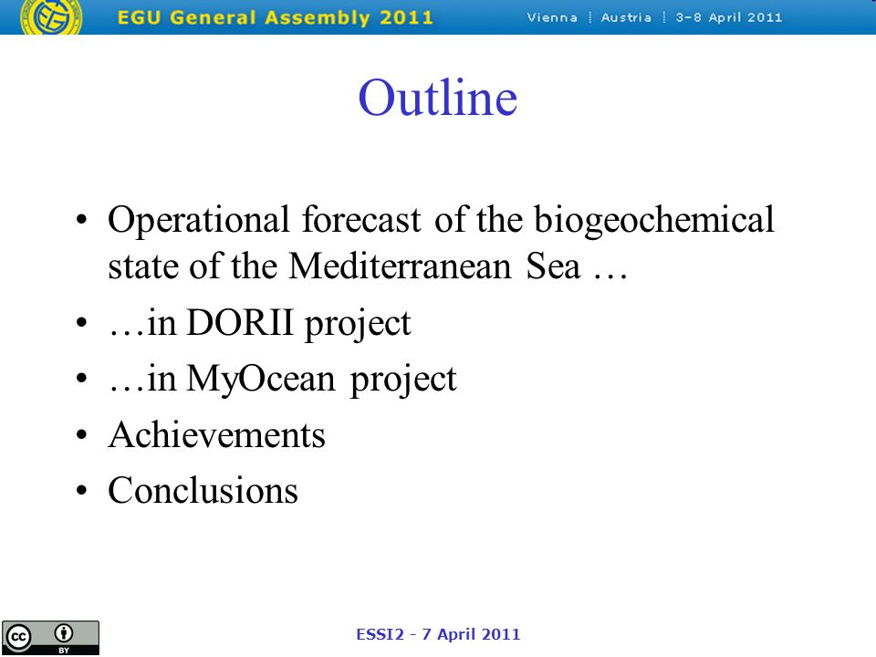 ESSI2 - 7 April 2011 Outline Operational forecast of the biogeochemical state of the Mediterranean Sea … …in DORII project …in MyOcean project Achievements Conclusions