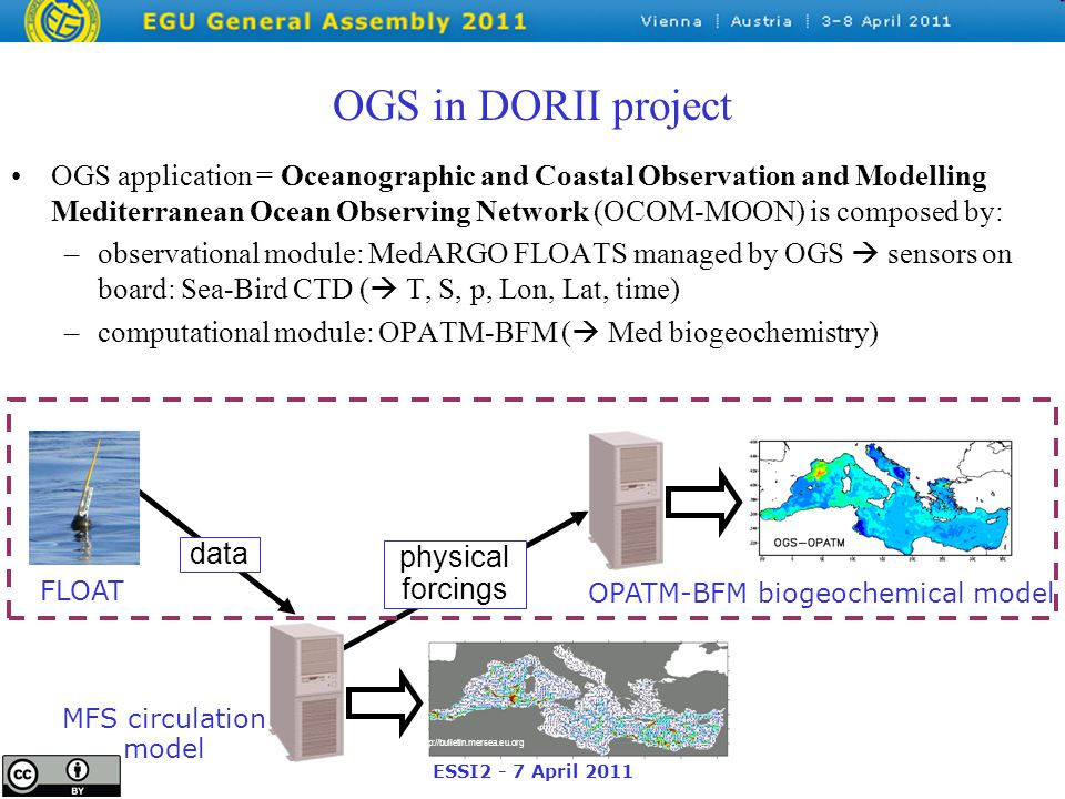 ESSI2 - 7 April 2011 OGS in DORII project OGS application = Oceanographic and Coastal Observation and Modelling Mediterranean Ocean Observing Network (OCOM-MOON) is composed by: –observational module: MedARGO FLOATS managed by OGS  sensors on board: Sea-Bird CTD (  T, S, p, Lon, Lat, time) –computational module: OPATM-BFM (  Med biogeochemistry) http://bulletin.mersea.eu.org physical forcings data OPATM-BFM biogeochemical model FLOAT MFS circulation model