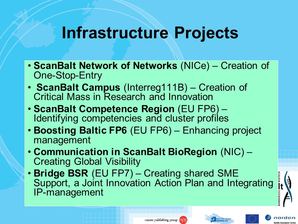 Infrastructure Projects ScanBalt Network of Networks (NICe) – Creation of One-Stop-Entry ScanBalt Campus (Interreg111B) – Creation of Critical Mass in Research and Innovation ScanBalt Competence Region (EU FP6) – Identifying competencies and cluster profiles Boosting Baltic FP6 (EU FP6) – Enhancing project management Communication in ScanBalt BioRegion (NIC) – Creating Global Visibility Bridge BSR (EU FP7) – Creating shared SME Support, a Joint Innovation Action Plan and Integrating IP-management