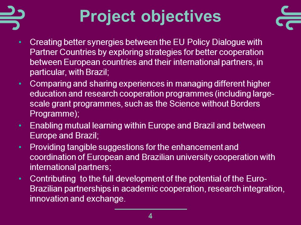 Project objectives Creating better synergies between the EU Policy Dialogue with Partner Countries by exploring strategies for better cooperation between European countries and their international partners, in particular, with Brazil; Comparing and sharing experiences in managing different higher education and research cooperation programmes (including large- scale grant programmes, such as the Science without Borders Programme); Enabling mutual learning within Europe and Brazil and between Europe and Brazil; Providing tangible suggestions for the enhancement and coordination of European and Brazilian university cooperation with international partners; Contributing to the full development of the potential of the Euro- Brazilian partnerships in academic cooperation, research integration, innovation and exchange.