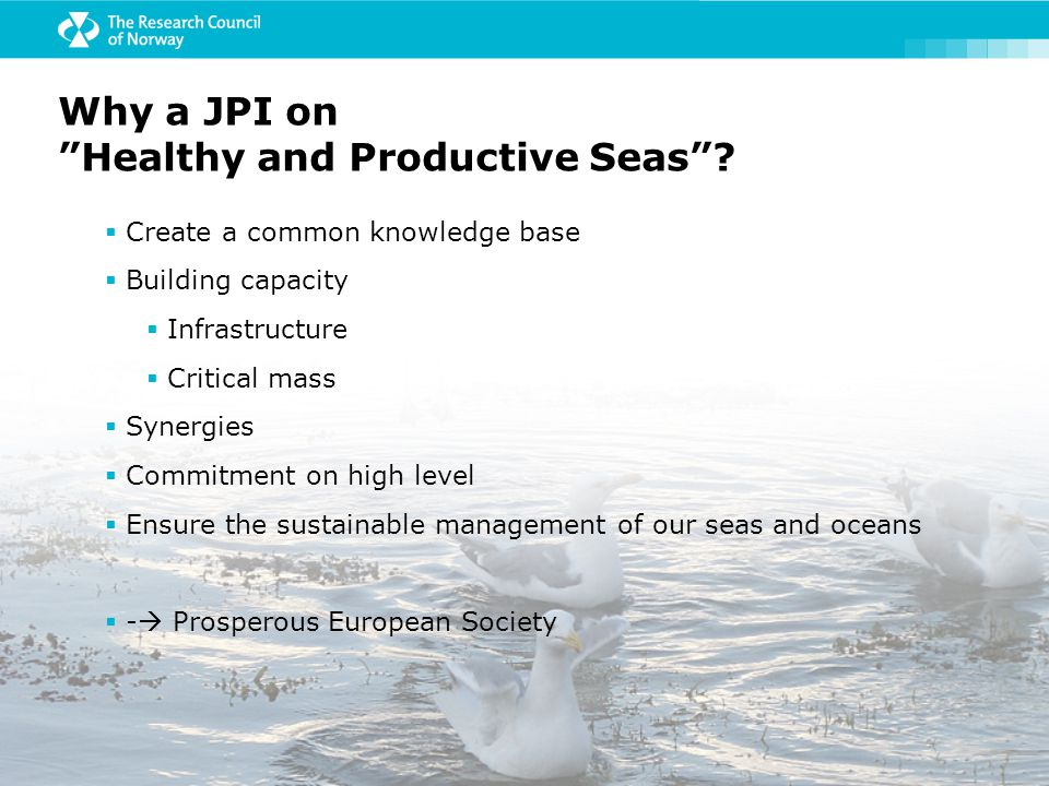  Create a common knowledge base  Building capacity  Infrastructure  Critical mass  Synergies  Commitment on high level  Ensure the sustainable management of our seas and oceans  -  Prosperous European Society Why a JPI on Healthy and Productive Seas