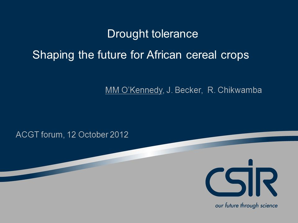 Drought tolerance Shaping the future for African cereal crops MM O'Kennedy, J.