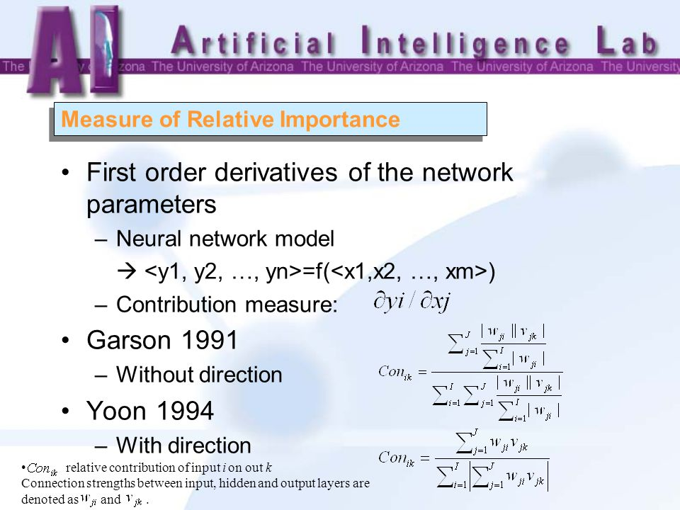 Measure of Relative Importance First order derivatives of the network parameters –Neural network model  =f( ) –Contribution measure: Garson 1991 –Without direction Yoon 1994 –With direction relative contribution of input i on out k Connection strengths between input, hidden and output layers are denoted as and.