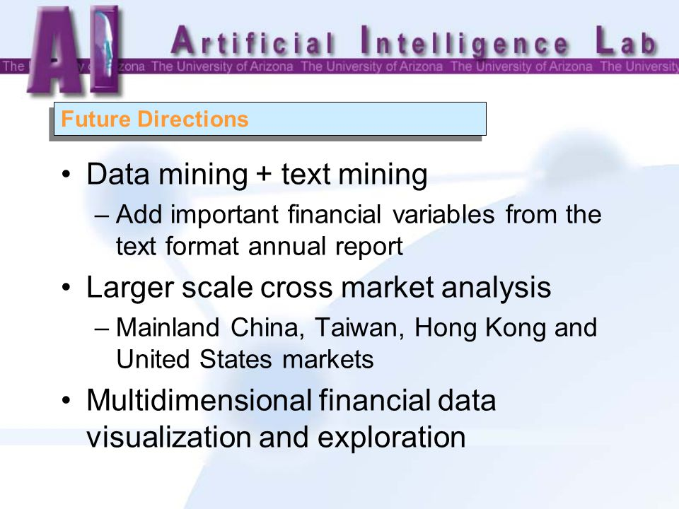 Future Directions Data mining + text mining –Add important financial variables from the text format annual report Larger scale cross market analysis –Mainland China, Taiwan, Hong Kong and United States markets Multidimensional financial data visualization and exploration