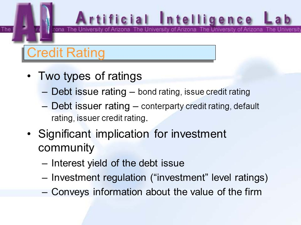 Credit Rating Two types of ratings –Debt issue rating – bond rating, issue credit rating –Debt issuer rating – conterparty credit rating, default rating, issuer credit rating.