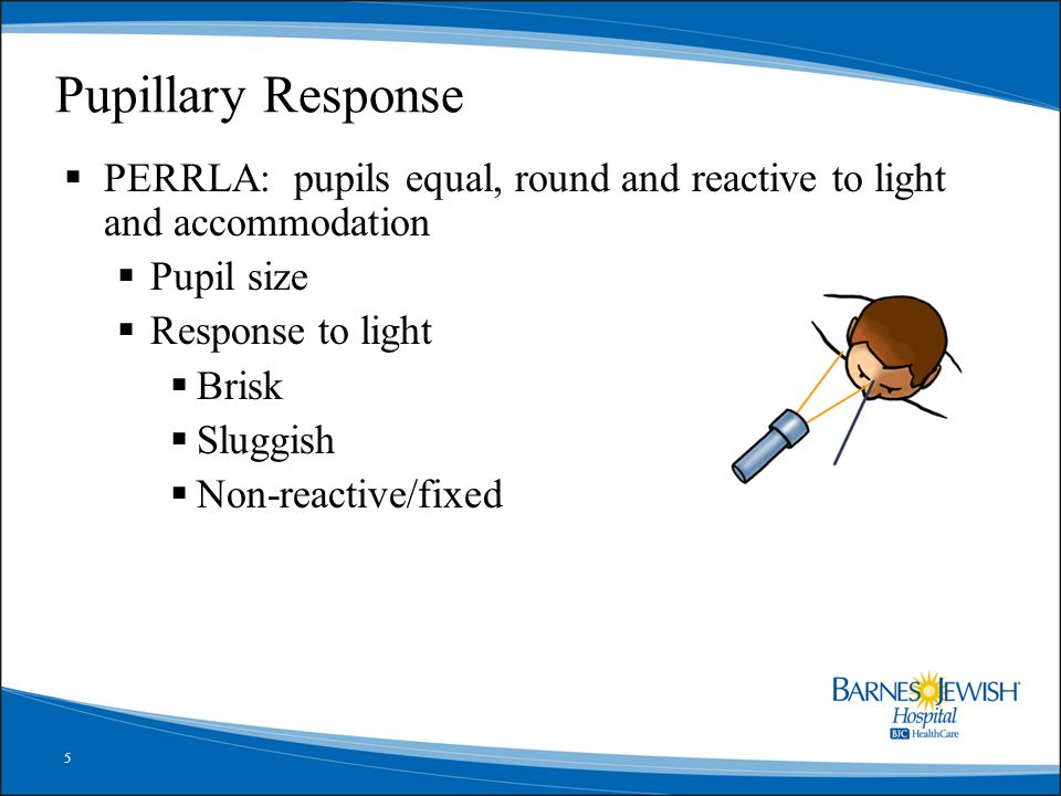 5 Pupillary Response  PERRLA: pupils equal, round and reactive to light and accommodation  Pupil size  Response to light  Brisk  Sluggish  Non-reactive/fixed