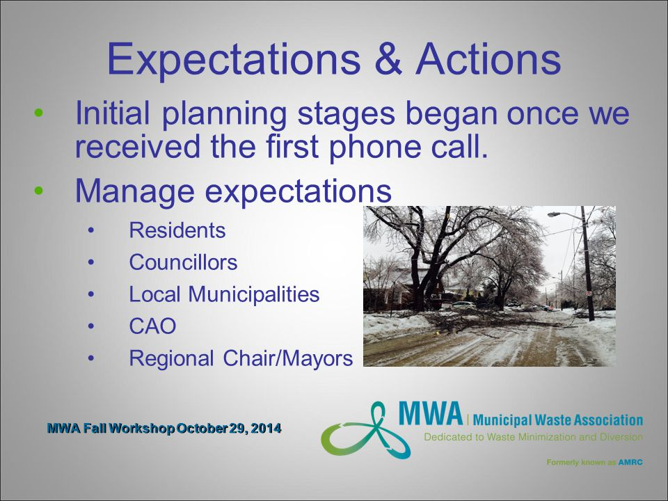 MWA Fall Workshop October 29, 2014 Expectations & Actions Initial planning stages began once we received the first phone call.