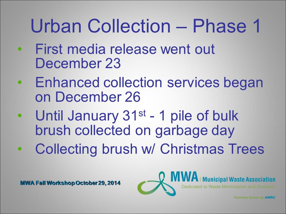 MWA Fall Workshop October 29, 2014 Urban Collection – Phase 1 First media release went out December 23 Enhanced collection services began on December 26 Until January 31 st - 1 pile of bulk brush collected on garbage day Collecting brush w/ Christmas Trees