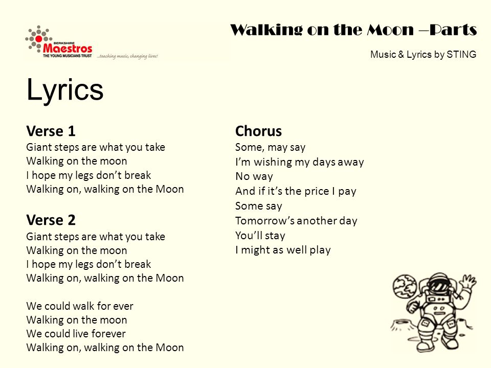 Walking on the Moon –Parts Music & Lyrics by STING How to