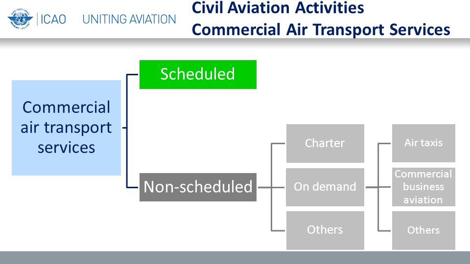 Commercial air transport services Scheduled Non-scheduled Charter On demand Air taxis Commercial business aviation Others Civil Aviation Activities Commercial Air Transport Services