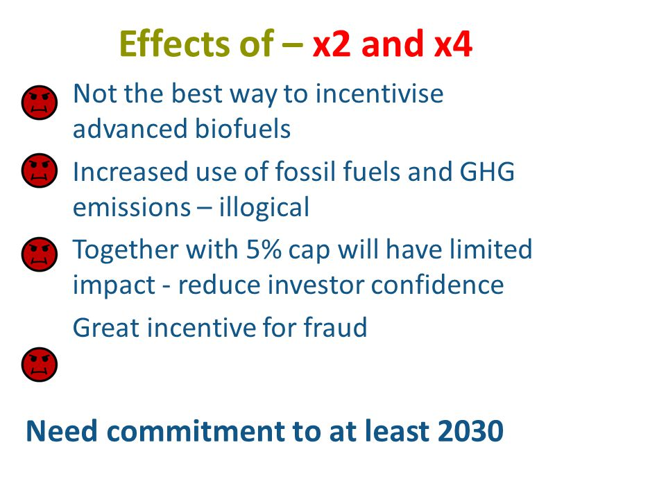 Effects of – x2 and x4 Not the best way to incentivise advanced biofuels Increased use of fossil fuels and GHG emissions – illogical Together with 5% cap will have limited impact - reduce investor confidence Great incentive for fraud Need commitment to at least 2030