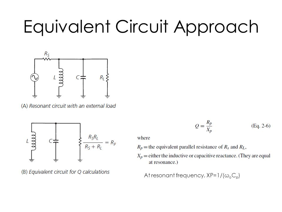 Equivalent Circuit Approach At resonant frequency, XP=1/(ω o C p )