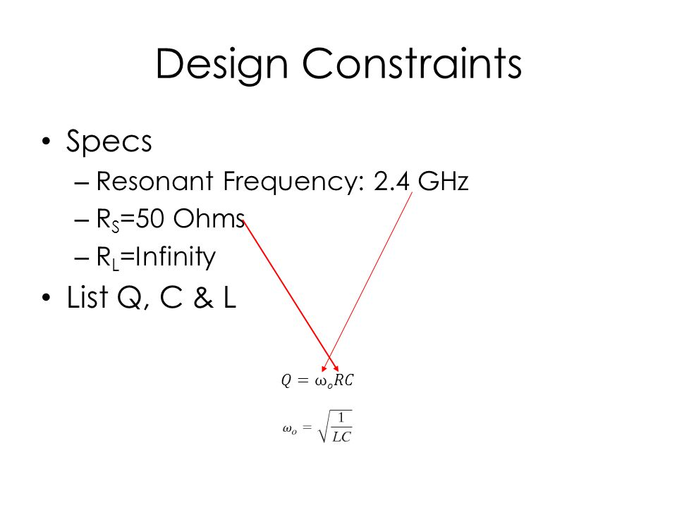 Design Constraints Specs – Resonant Frequency: 2.4 GHz – R S =50 Ohms – R L =Infinity List Q, C & L