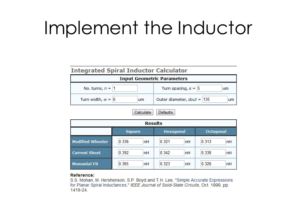 Implement the Inductor