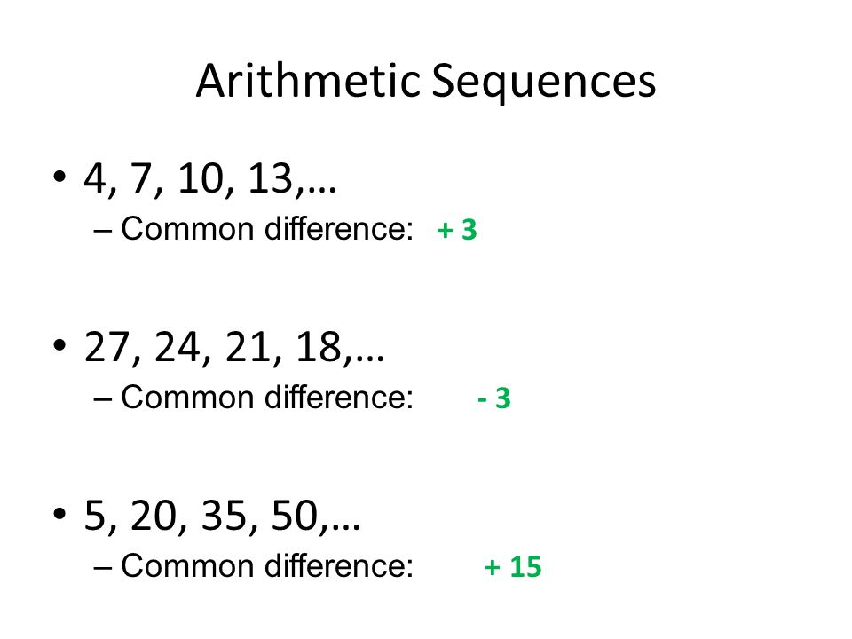 Arithmetic Sequences 4, 7, 10, 13,… –Common difference: + 3 27, 24, 21, 18,… –Common difference: - 3 5, 20, 35, 50,… –Common difference: + 15