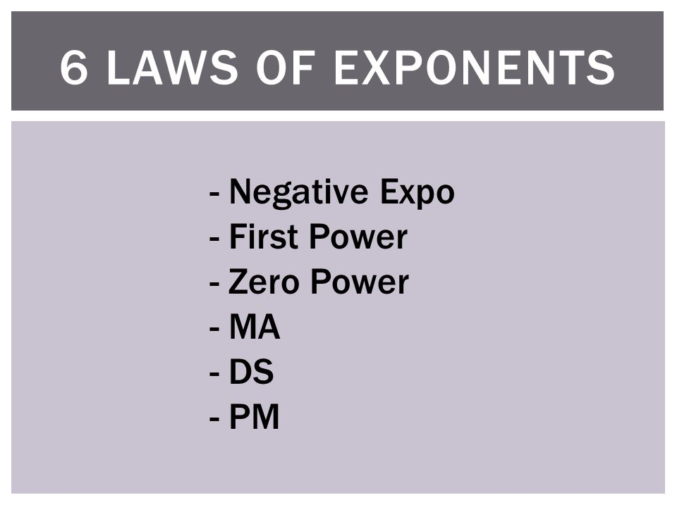 6 LAWS OF EXPONENTS - Negative Expo - First Power - Zero Power - MA - DS - PM