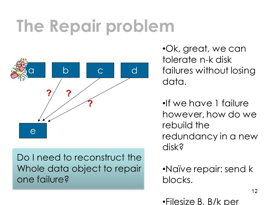 The Repair problem 12 a b c d e . Ok, great, we can tolerate n-k disk failures without losing data.