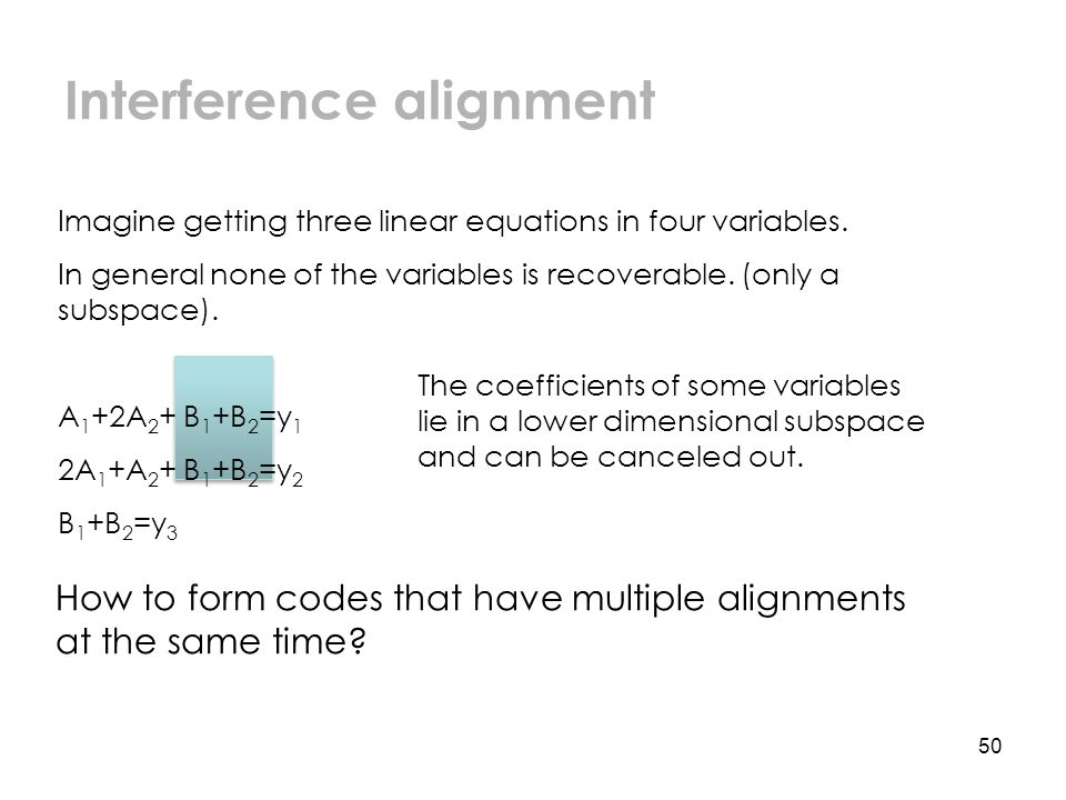 The coefficients of some variables lie in a lower dimensional subspace and can be canceled out.
