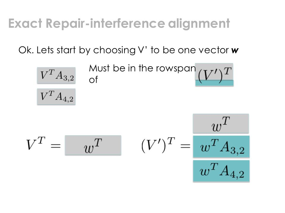 Exact Repair-interference alignment Ok.