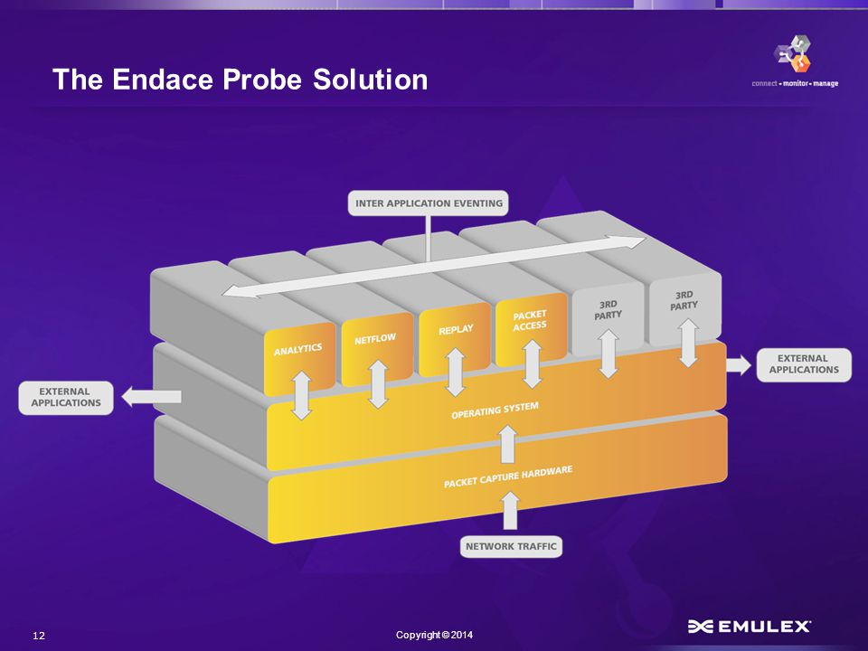 12 Copyright © 2014 The Endace Probe Solution
