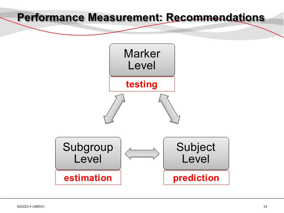 Marker Level Subject Level Subgroup Level Performance Measurement: Recommendations 5/20/2014 (MBSW) 24 predictionestimation testing